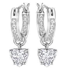 e5cec1ec7 Swarovski Earrings Attract Heart Hoop Pierced Earrings, Clear, Rhodium  -5188403