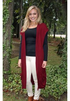 Ribbed Knit Long Vest in Burgundy - Great for Alabama Game Days!