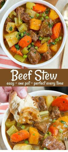 Easy and comforting Beef Stew - with a few updated twists. Tender meat and veget. Easy and comforting Beef Stew - with a few updated twists. Tender meat and vegetables in a flavorful broth, made in Beef Bourguignon, Beef Soup Recipes, Slow Cooker Recipes, Quick Recipes With Beef Stew Meat, Easy Meat Recipes, Korean Recipes, Steak Recipes, Vegan Recipes, Beef Stew Stove Top