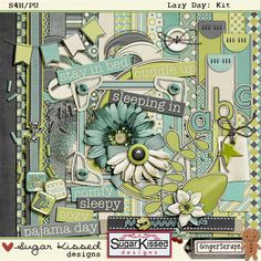 """Lazy Day"" Digital Scrapbooking Kit"