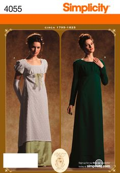 Simplicity Pattern 4055 Misses Costumes  Misses Period Gown circa 1795 - 1825 Costumes  Size RR (14, 16, 18, 20)