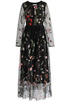 Lost in Flowering Fields Embroidered Mesh Maxi Dress in Black - New Arrivals - Retro, Indie and Unique Fashion