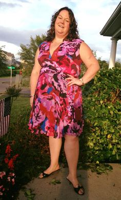 Taylor Dresses Faux Wrap Dress in Blossom Print on Gwynnie Bee member Erin