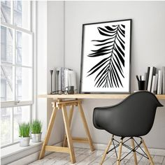 Palm Leaf Print Tropical Leaf Print Printable by honeytreeprints
