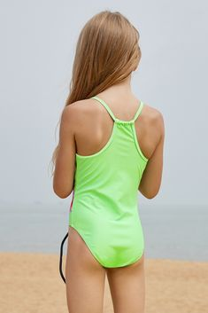 0082e75c2478c US  4.03-Neon Green Floral and Birds Little Girls One-piece Swimwear  Dropshipping