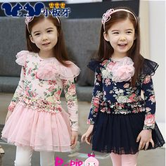2013 autumn korean children peony sasa children long-sleeved dress child 6540 baby girls only $10.75USD a Piece