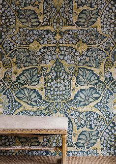 Designed by the talented muralist Flora Roberts, the creator of our popular Doves & Sika designs, Alhambra is based on a middle Eastern carpet. Interior Wallpaper, Wood Wallpaper, Wallpaper Online, Wallpaper Ceiling, Wallpaper Decor, Sea Holly, Image Categories, Home Room Design, Interior Design Services