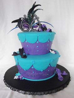 fondant decorated cake ... absolutely luv this bright color combo of purple and turqoise with  bit of black: My Aunty's 60th Birthday Cake by SweetTart Cakes {Natalie}, via Flickr