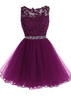 Tideclothes Short Beaded Prom Dress Tulle Applique Homecoming Dress Grape US14