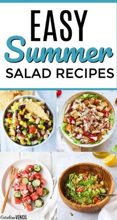 Take a look at these yummy easy Summer Salad Recipes. 25 of the best easy summer salads for you to try this summer that are light and tasty. Easy recipes to bring to the next BBQ or cook out or party over the summer. Fast Easy Dinner, Dinner Recipes Easy Quick, Fast Easy Meals, Easy Healthy Recipes, Easy Dinners, Chicken Breast Recipes Dinners, Easy Chicken Dinner Recipes, Vegetarian Recipes Dinner, Easy Summer Salads