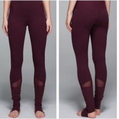 Lulululemon Devi yoga pant heathered Bordeaux Excellent condition (worn less than 3 times) lulu lemon yoga pant in heathered Bordeaux -a rich burgundy wine color. Super soft with stirrups. lululemon athletica Pants Leggings