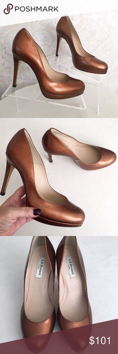 """🚫SOLD🚫 L.K.Bennett """"Sledge"""" bronze leather pumps Utterly elegant court shoe, worn by Kate Middleton. Metallic bronze patent Saffiano leather. Almond toe. Tall, slim heel, slight platform. Slightly padded footbed. Gorgeous leather sole. Handmade in Spain; these will last decades. ‼️Marked EU size 40, will fit a US 9B perfectly.‼️ NWOT; tried on but never worn. No box, no bags. L. K. Bennett London Shoes Platforms"""