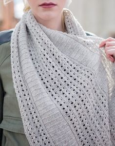 """Knitting Pattern for Firehouse Alley Infinity Scarf Cowl - Easy to remember stitch patterns in sections of lace and texture make a fabric that's beautiful loose or wrapped around the neck. Designed by Bonnie Sennott. Finished Size: 66″ circumference and 16½"""" wide."""