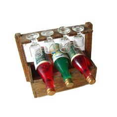 Dollhouse Wine Caddie Bottles and Miniature Wine by openslate