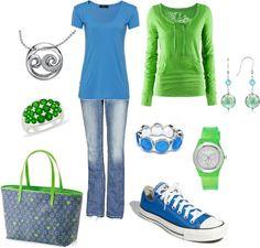 """""""Blue & Green"""" by jklmnodavis on Polyvore"""