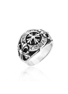 7f26f4654eb4 Classic Cross Flower Hearts Vintage Titanium Steel Men s Ring Chrome Hearts  Ring