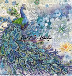 Set of 2two    napkins   Paisley  Peacock  door Dalilasdecoupage