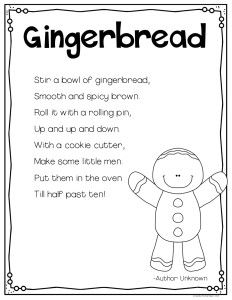This gingerbread poem is perfect for shared reading in your kindergarten and first grade classroom as you explore gingerbread activities.
