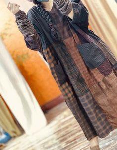 Women autumn large size dress, Oversize robe, Linen midi dress, retro Dresses, gown, with pockets dress
