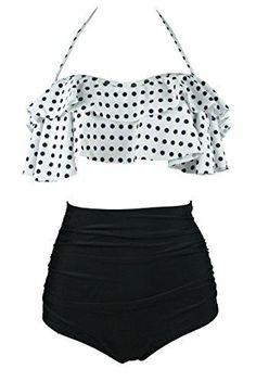 17bd32854520e Cocoship Women s Retro Boho Flounce Falbala High Waist Bikini Set Chic  Swimsuit(FBA) Fashion