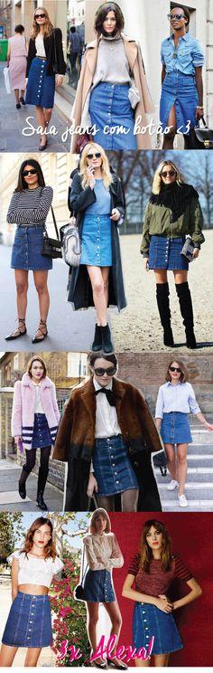 saia jeans com botões na frente tendencia anos 70