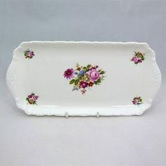 Coalport Sandwich Tray £20 - The simple and stylish Ludow pattern of this sandwich plate makes it a lovely addition to any afternoon tea table. Mix it with other china or introduce it to our beautiful Coalport napkin rings in the same design. Cucumber sandwich anyone? #vintagecakeplate #vintagechina by beverley