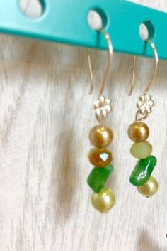 Green aventurine majolica pearls  Swarovski  by MioCapriccio