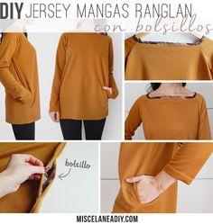 DIY Sewing   Jersey con bolsillos y mangas ranglan