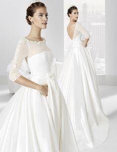 Traje de novia línea princesa con espectacular falda con bolsillos
