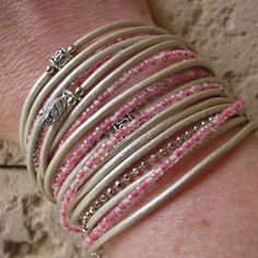 Boho Pearl Metallic Leather Wrap Bracelet with silver accents and pink mix Japanese glass beads.  Beautiful color combo for spring/summer. by DesignsbyNoa, $42.00