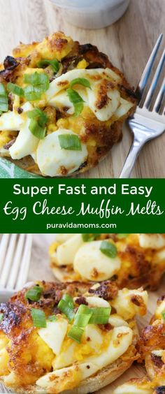 Super Fast Breakfast – Egg Cheese Muffin Melts Recipe This super fast breakfast will please a crowd- it's so easy to make these egg cheese muffin melts that the recipe will become a household staple- I promise! Breakfast Bread Recipes, Delicious Breakfast Recipes, Brunch Recipes, Easy Dinner Recipes, Appetizer Recipes, Brunch Ideas, Muffin Recipes, Breakfast Ideas, Beef Recipes