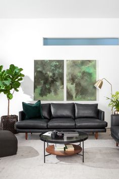 An update to an old friend. The Burrard sofa is now available in three leather shades. Black Leather Sofa Living Room, Black Sofa Living Room Decor, Living Room Windows, New Living Room, Living Room Modern, Living Room Sofa, Dining Room, Sofa Design, Interior Design