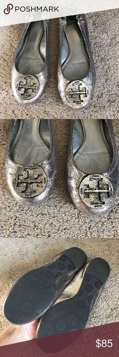 Tory burch shiny flats size 7 In amazing condition lightly worn. They are a cracked shiny material makes them look almost glitter like. Size 7 Tory Burch Shoes Flats & Loafers