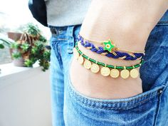Evil eye bracelet set money charm jewelry green by Handemadeit, $27.90