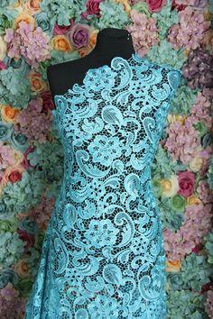 Aqua Blue Guipure Lace bridal lace 120cm by BridalLaceFabric