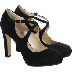 Hobbs Fae High Heel Cross Over Strap Court Shoes, Black Suede ($86) ❤ liked on Polyvore featuring shoes, pumps, heels, sapatos, high heel shoes, high heel platform pumps, thick heel pumps, black pumps and black round toe pumps