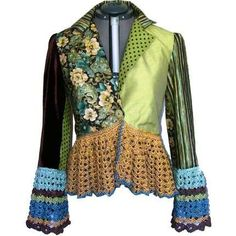 Fabric jacket with crochet trim