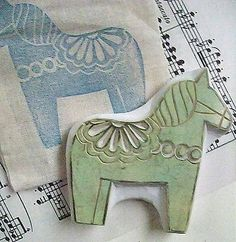 dala horse stamp / talktothesun via etsy