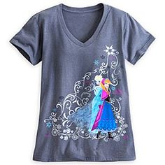 Size Large, please Disney Anna and Elsa V-Neck Tee for Women | Disney StoreAnna and Elsa V-Neck Tee for Women - You'll never want to let it go after wearing Anna and Elsa's heathered v-neck tee with shimmering silver filigree and full color character screen art inspired by the Disney hit <i>Frozen</i>.