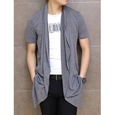 Stylish Collarless Design Solid Color Slimming Short Sleeves Men's Cotton Cardigan, DEEP GRAY, XL in Cardigans & Sweaters | DressLily.com