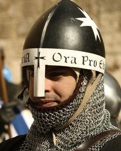 Nasal helmet Hospitalier knight color Crusader period Medieval Knight, Medieval Armor, Medieval Fantasy, Viking Armor, Larp Armor, Knights Hospitaller, Knights Templar, Norman Knight, Crusader Knight