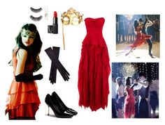 """""""Another Cinderella Story Masquerade Ball"""" by falling4fashi0n ❤ liked on Polyvore featuring Masquerade, Ann Demeulemeester, NARS Cosmetics, eylure, strapless dresses, platform heels, bright dresses, bow gloves, masquerade and mask"""