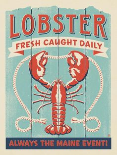 Anderson Design Group – The Coastal Collection – Lobster: Maine Event Lobster Restaurant, Restaurant Poster, Lobster Art, Crab And Lobster, Hand Illustration, Graphic Design Illustration, Illustrations, Maine, Nautical Art
