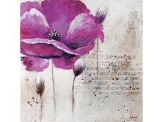 Peint main 100x100 cm - FLOWER PURPLE LEFT - code article :   511210