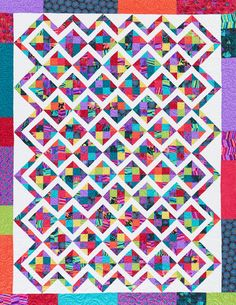 Scraps of all colors and sizes will find a home in a quilt composed of squares and triangle-squares. Fabrics are from the Forest Fancies collection by P&B Textiles. Quilting Templates, Quilting Projects, Quilting Ideas, Scrappy Quilts, Easy Quilts, Baby Quilt Patterns, Quilt Baby, Quilting Patterns, American Patchwork And Quilting