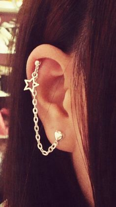 Star Charm Double Lobe/Cartilage Chain Earring by SimplyyCharming, $6.00
