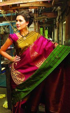 Aila! Stunning silk saree! #southindian #awesomeness