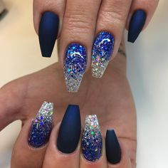 Midnight blue matte and glitterombre #lillynails