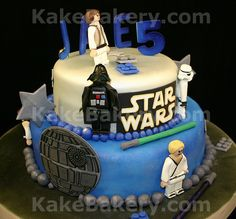 Lego Star Wars birthday cake with gumpaste sugar figures.