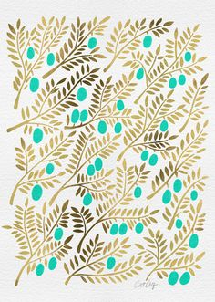 Cat Coquillette  Gold & Turquoise Olive Branches